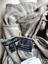 EILEEN FISHER  Scarf Ultra Fine Merino Ruffle Wrap $128 NWT  Almond Gray Stripe