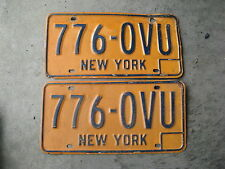 1974 74 - 1986 86 NEW YORK NY LICENSE PLATE SET PAIR ORANGE 776 OVU