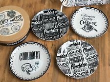 Set of 4 GOURMET CHEESE Cream & Black STONEWARE CHEESE PLATES