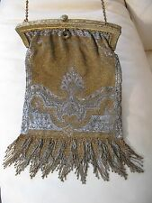 Antique Art Nouveau Deco Gold Silver Frame French Steel Micro Bead Purse FRANCE