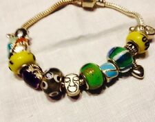 Silver Tone Slide Charm Bracelet Art Glass Beads,Enamel Purse,boy,duck,heart