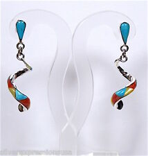 Handmade Turquoise & Multi Stone Inlay 925 Sterling Silver Curly Earrings