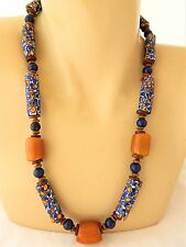 African Millefiore Butterscotch Amber Bakelite Egg Yolk Trade Bead Necklace 23""