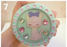 Brand New Swimmer Japan Green Kawaii Cat Glitter Compact Mirror Lolita Fairy Kei