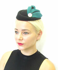 Dark Green Black Feather Pillbox Hat Fascinator Headpiece Races Hair Vintage 438