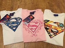 3x JOB LOT Official SUPERMAN SKINNY TSHIRT TOP M 10 SUPER GIRL MOTHER's DAY pink