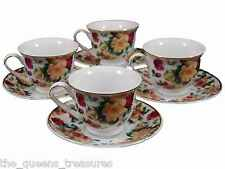 Set of 4 TEA PARTY CHILD SIZE FINE CHINA TEACUPS & SAUCERS FACTORY 2ND! AR