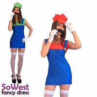 Super Mario Luigi Brothers Sexy Women Ladies Fancy Dress Costume Hen Night Party