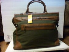 Brown leather and army green canvas overnight travel bag