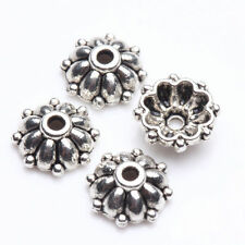 100PCS End Caps Tibet Silver Flower Spacer Bead Caps Carved Jewelry Making 8*3mm