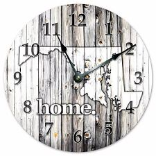 "MARYLAND RUSTIC HOME STATE CLOCK - Large 10.5"" Wall Clock - 2229"
