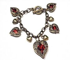 ANGEL WINGS HEART CHARM BRACELET bronze gold red pendant cupid love chain 2C