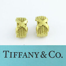 "NYJEWEL Tiffany & Co 18K Gold Schlumberger Six Row Rope ""X"" Clip On Earrings"