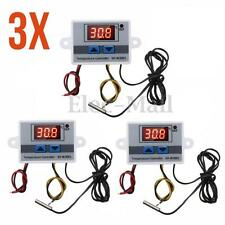 3Pcs 220V 10A Digital LED Temperature Controller Thermostat Control Switch Probe
