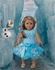 "18"" American Girl Doll Elsa Rhinestone Tee Blue Pettiskirt Clothes Dress Outfit"