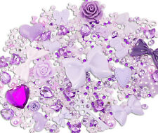 PURPLE Sparkle 10 Cabochons + 15g Rhinestone Pearl Set Kit DIY Deco Kawaii Craft