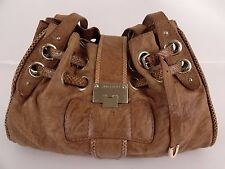 Jimmy Choo - Brown Leather Snake Trim Large Shoulder Bag Purse Handbag