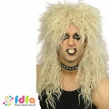 1980s BLONDE HARD ROCKER PUNK LONG TOUSLED WIG - mens fancy dress costume