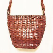 Valerie Stevens Genuine Leather Woven Brown Crossbody Shoulder Bag Bucket Purse