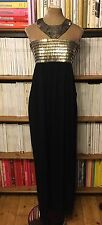 FRENCH CONNECTION beaded Egyptian collar black maxi long dress UK 8 US 4 evening