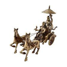 Solid Brass Hindu God Krishna Arjun Rath Chariot Statue Figurine War Period rare