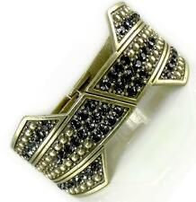 Designer Style Gold Black Diamond Crystal Dot Texture Hinged Bangle Bracelet