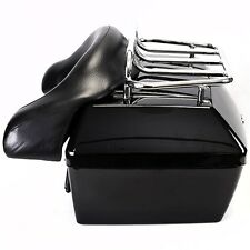 Motorcycle Trunk Tail Box Luggage Case w/Top Rack&Backrest For Yamaha Touring