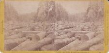California Stereoview Jam of Logs on the Big River Mendocino Co. By Soule 1871