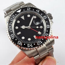 40mm Parnis black dial ceramic bezel Sapphire Glass GMT Automatic Date Watch D6