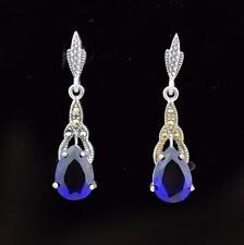 Sterling Silver MARCASITE Earrings with SAPPHIRE BLUE DROPS, Art Deco Stlye