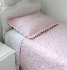 Shabby Chic Pink Double / King Single Bedspread Throw Quilt + 2  Shams 210x245cm