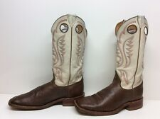 VTG MENS JUSTIN SQUARE TOE BUCKAROO COWBOY LEATHER BROWN BOOTS SIZE 8.5 D