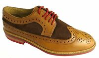 Gucinari Rby-01 Men's Formal Brown Two Tone Lace Up Leather Wingtip Brogues New