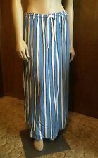 Vintage 1980s David Dart Sport Long Maxi Skirt Blue Yellow Stripes M Drawstring