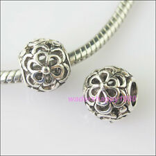 10Pcs New Tibetan Silver Flower Charms 4.5mm Hole European Spacer Beads 10.5mm