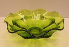 Vintage Viking Epic Green Crimped Ruffled Art Glass Bloom Bowl Mid Century Retro