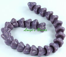 25 Opaque Purple Czech Glass Beads Baby Bell Flower 8x6mm