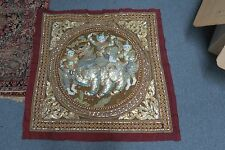 Vintage Burmese Kalaga Tapestry Metallic Beaded Embroidery Dragon Lion Myth 31""
