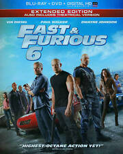 FAST & AND FURIOUS 6 VI BLU RAY & DVD MOVIE COMBO EXTENDED UNRATED FREE SHIPPING