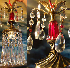 1o3 Vintage ruby glass Lily Spelter Brass beaded hanging lamp chandelier crystal