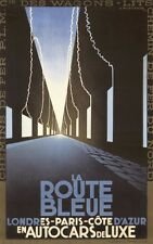 LA ROUTE BLEUE, 1928 Vintage Advertising Auto Racing Canvas Print 20x32