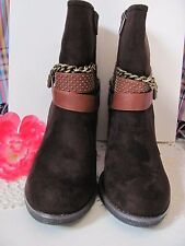 GC SHOES Womens Faux Suede Dark Brown Fashion Booties