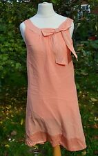 H&M 14/16 Coral Orange Bow Shift DRESS Ribbon Satin/Chiffon Sleeveles Round Neck