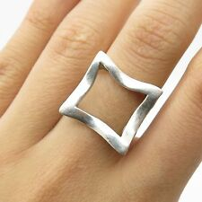 Vtg 925 Sterling Silver Unique Wide Modernist Ring Size 5 1/4