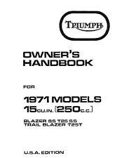 Triumph Owners Manual Book 1971 Blazer SS T25SS & 1971 Trail Blazer T25T