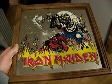 Vintage 80s IRON MAIDEN 13X13 Glass Carnival Bar Mirror THE NUMBER OF THE BEAST