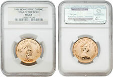 Hong Kong 1986 Year of the Tiger $1000 Gold Coin NGC MS68