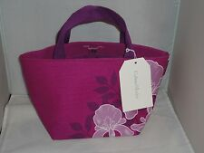 CRABTREE & EVELYN  IRIS  DECORATED FABRIC SATCHEL / LUNCH TOTE BAG