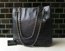 100% AUTH CHANEL VINTAGE LEATHER CHAIN SHOULDER TOTE BAG