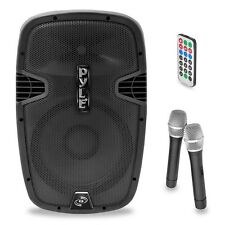 "Pyle PPHP159WMU 15"" 1600W BLUETOOTH Portable Speaker +2 Wireless Microphones"
